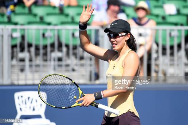 Saisai Zheng of China reacts after defeating Maria Sakkari of Greece in their semifinal match of the Mubadala Silicon Valley Classic at the San José...