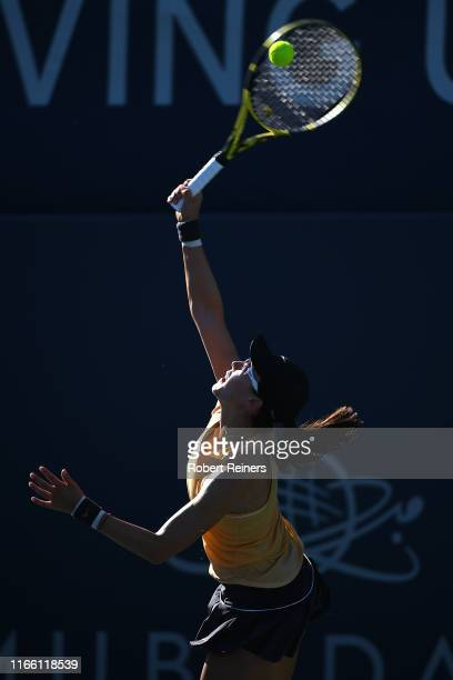 Saisai Zheng of China serves to Aryna Sabalenka of Belarus during the singles final of the Mubadala Silicon Valley Classic at the San José State...