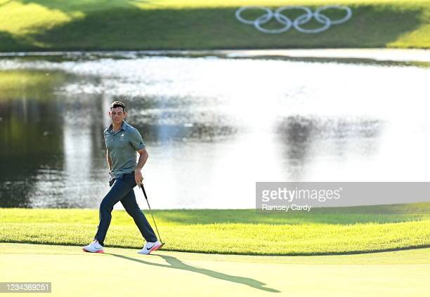 Saitama , Japan - 1 August 2021; Rory McIlroy of Ireland lines up his putt on the 10th green during the bronze medal play-off in round 4 of the men's...