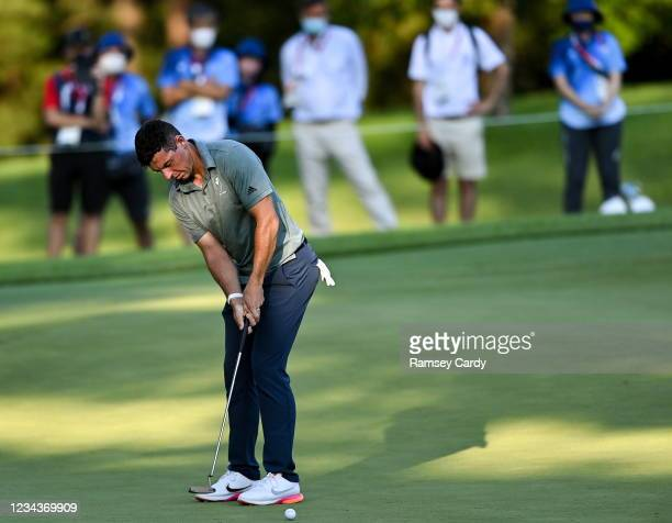 Saitama , Japan - 1 August 2021; Rory McIlroy of Ireland misses a putt on the 11th during the bronze medal play-off in round 4 of the men's...