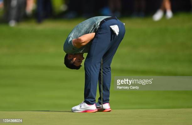 Saitama , Japan - 1 August 2021; Rory McIlroy of Ireland reacts after missing a birdie putt on the 18th green during round 4 of the men's individual...