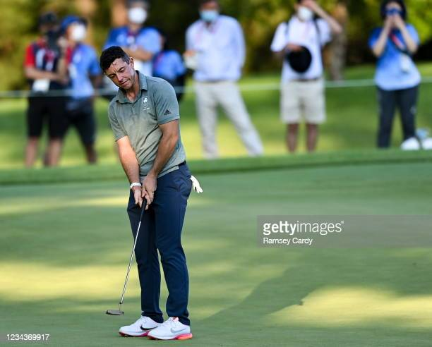Saitama , Japan - 1 August 2021; Rory McIlroy of Ireland reacts to a missed putt on the 11th during the bronze medal play-off in round 4 of the men's...
