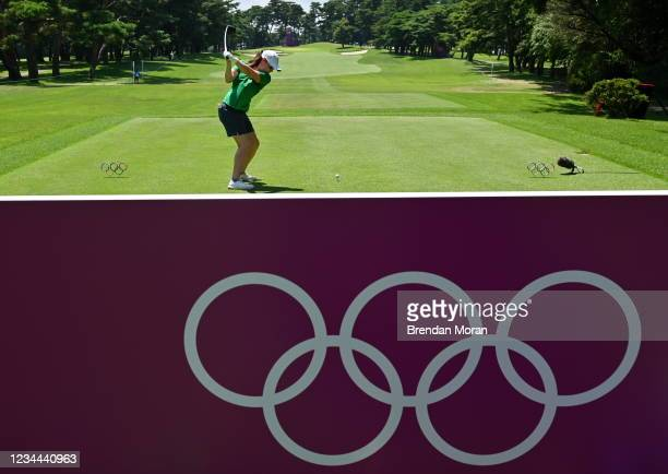 Saitama , Japan - 4 August 2021; Leona Maguire of Ireland drives off the 17th tee box during round one of the women's individual stroke play at the...
