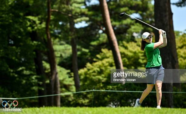 Saitama , Japan - 4 August 2021; Leona Maguire of Ireland watches her drive off the 18th tee box during round one of the women's individual stroke...
