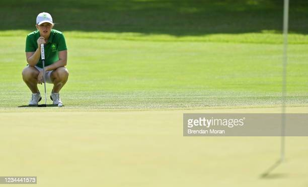 Saitama , Japan - 4 August 2021; Stephanie Meadow of Ireland lines up a putt on the 13th green during round one of the women's individual stroke play...