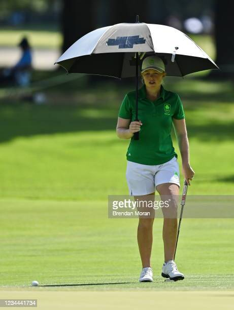 Saitama , Japan - 4 August 2021; Stephanie Meadow of Ireland makes her way to her ball on the 13th green during round one of the women's individual...
