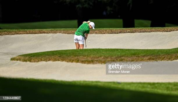 Saitama , Japan - 4 August 2021; Stephanie Meadow of Ireland plays from a bunker on the 16th fairway during round one of the women's individual...
