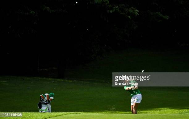 Saitama , Japan - 4 August 2021; Stephanie Meadow of Ireland plays from the 17th fairway during round one of the women's individual stroke play at...