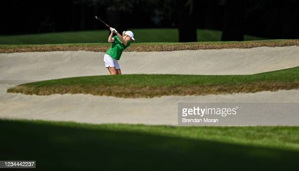 Saitama , Japan - 4 August 2021; Stephanie Meadow of Ireland plays out of a bunker on the 16th fairway during round one of the women's individual...