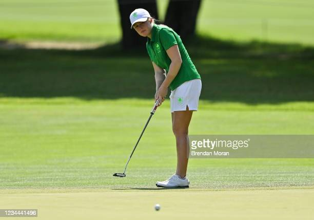 Saitama , Japan - 4 August 2021; Stephanie Meadow of Ireland putts on the 13th green during round one of the women's individual stroke play at the...