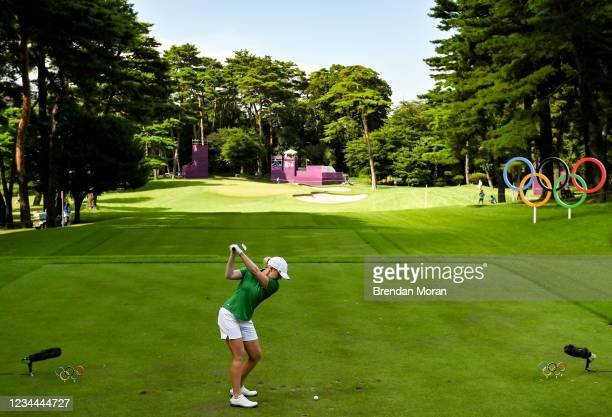 Saitama , Japan - 4 August 2021; Stephanie Meadow of Ireland tees off at the 16th tee box during round one of the women's individual stroke play at...