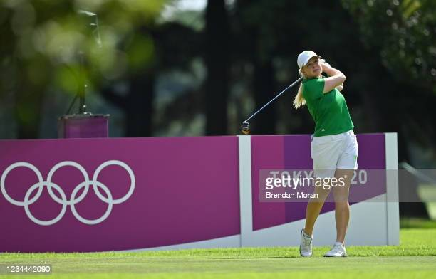 Saitama , Japan - 4 August 2021; Stephanie Meadow of Ireland watches her drive on the 14th tee box during round one of the women's individual stroke...