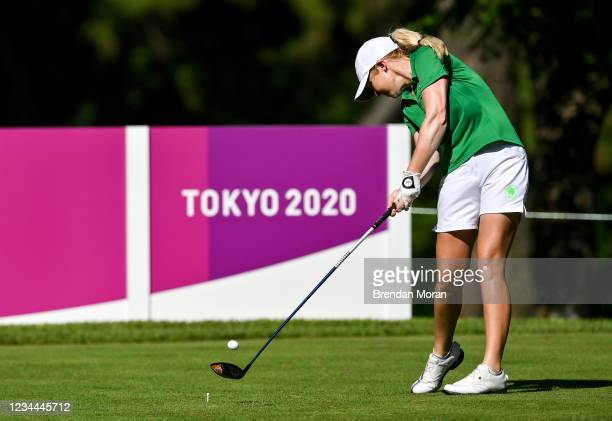 Saitama , Japan - 4 August 2021; Stephenie Meadow of Ireland drives off the 18th tee box during round one of the women's individual stroke play at...