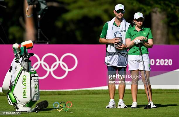 Saitama , Japan - 4 August 2021; Stephenie Meadow of Ireland with her caddie Kyle Kallan on the 15th tee box during round one of the women's...