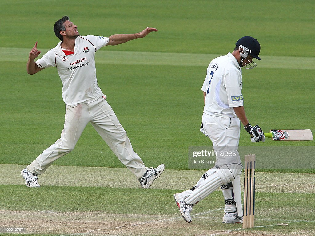 Saj Mahmood of Lancashire celebrates taking the wicket of Neil Carter of Lancashire during the LV County Championship Division One match between Warwickshire and Lancashire at Edgbaston on May 20, 2010 in Birmingham, England.
