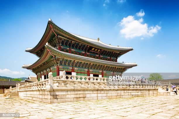 sajeongjeon hall at gyeongbokgung palace seoul south korea - gyeongbokgung stock photos and pictures