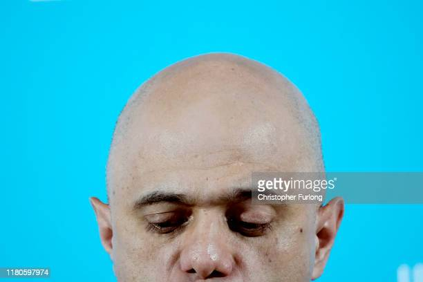 Sajid Javid delivers a speech on the Conservative Party's plans for the economy at the Airport Runway Visitor Park at Manchester Airport on November...
