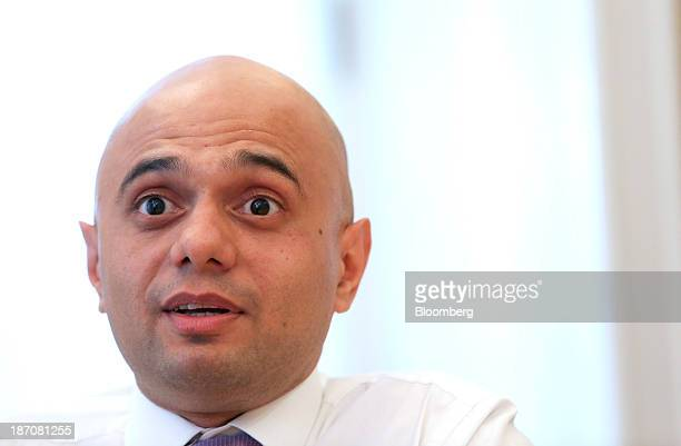 Sajid Javid financial secretary to the UK treasury speaks during an interview in London UK on Tuesday Nov 5 2013 UK industrial production rose more...
