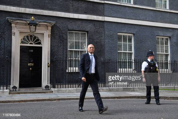 Sajid Javid leaves Number 10 Downing Street after being appointed Chancellor of the Exchequer on July 24 2019 in London England Boris Johnson took...