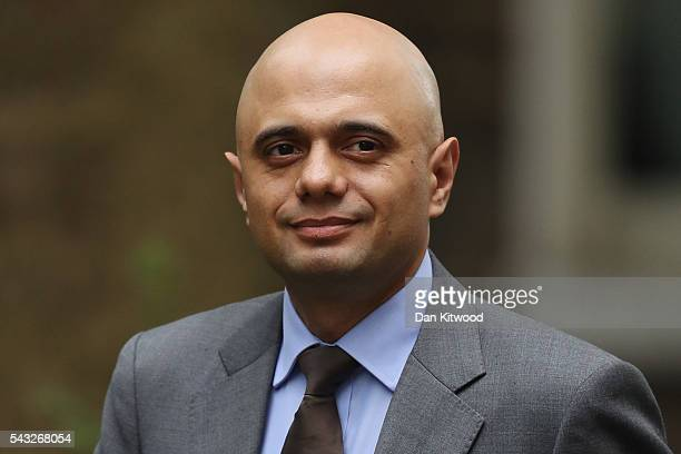 Sajid Javid Secretary of State for Business Innovation and Skills arrives for a cabinet meeting at Downing Street on June 27 2016 in London England...