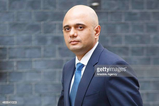 Sajid Javid the new Secretary of State for Culture Media and Sport arrives on Downing Street after Marie Miller's resignation in London UK on April 9...