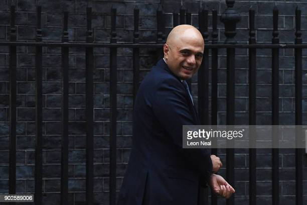 Sajid Javid the Secretary of State for Housing Communities and Local Government leaves 10 Downing Street as Prime Minister Theresa May reshuffles her...