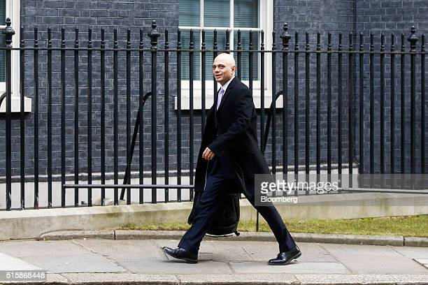 Sajid Javid UK business secretary arrives in Downing Street in London UK on Wednesday March 16 2016 UK Chancellor of the Exchequer George Osborne is...