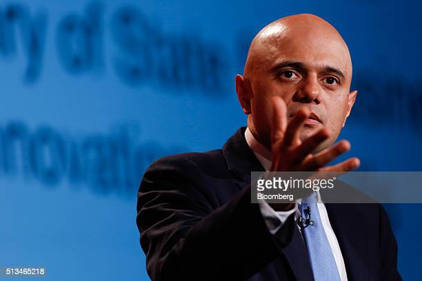 Sajid Javid UK business secretary gestures as he speaks during the 2016 British Chamber of Commerce annual conference in London UK on Thursday March...