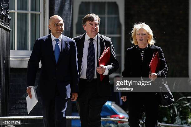 Sajid Javid UK business secretary left John Whittingdale UK culture media and sport secretary center and Anna Soubry UK innovation and skills...