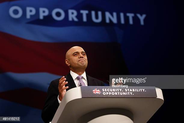 Sajid Javid UK business secretary speaks at the Conservative Party's annual conference in Manchester UK on Monday Oct 5 2015 UK Chancellor of the...