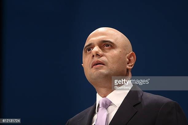 Sajid Javid UK communities secretary speaks during the second day of the Conservatives party's annual conference in Birmingham UK on Monday Oct 3...
