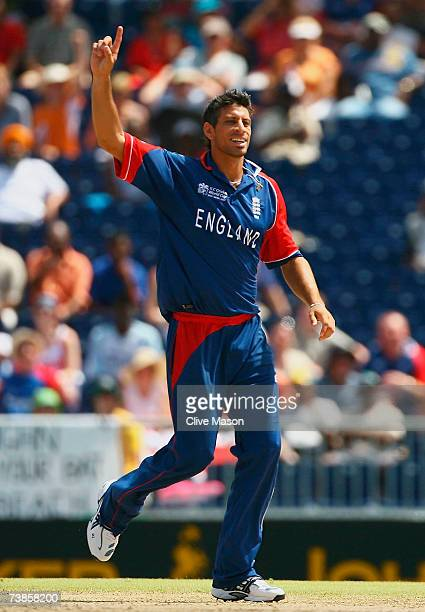 Sajid Mahmood of England celebrates the wicket of Shahriar Nafees of Bangladesh during the ICC Cricket World Cup Super Eights match between England...