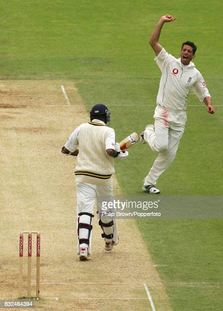 Sajid Mahmood of England celebrates the wicket of Sri Lanka's Thilan Samaraweera in the 2nd innings of the 1st Test match between England and Sri...