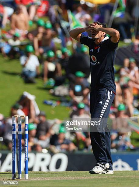 Sajid Mahmood of England holds his head in his hands during the Twenty20 International match between South Africa and England at Supersport Park on...