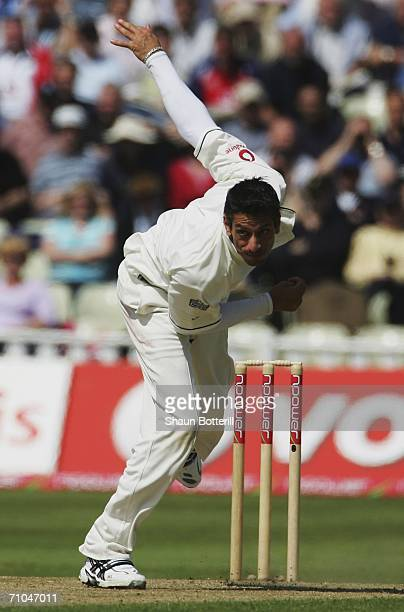 Sajid Mahmood of England in action during the second npower test match between England and Sri Lanka at the Edgbaston Cricket Ground on May 25 2006...