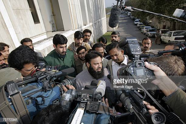 Sajjad Ahmed Rana father of Scottish schoolgirl Misbah Rana talks to the media upon arriving at the Islamabad Supreme Court on December 8 in...