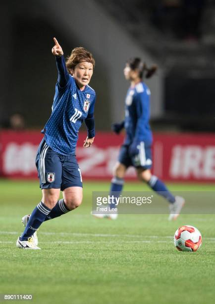 Sakaguchi Mizuho of Japan in action during the EAFF E1 Women's Football Championship between Japan and China at Fukuda Denshi Arena on December 11...