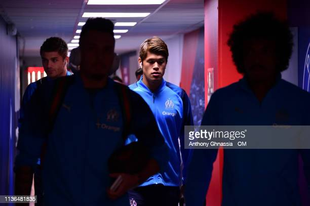 Sakai arrive at the Ligue 1 match between Paris Saint Germain and Olympique de Marseille at Parc des Princes on March 17 2019 in Paris France