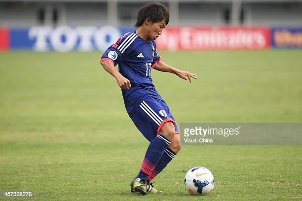 Sakai Daisuke of Japan in action during the AFC U19 Championship quarterfinal match between Japan and North Korea at Wunna Theikdi Stadium on October...