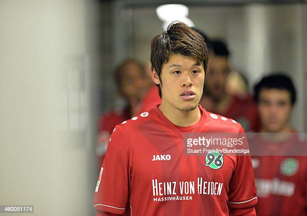 Sakai Hiroki of Hannover waits in the players tunnel during the Bundesliga match between Hannover 96 and VfL Wolfsburg at HDIArena on December 6 2014...