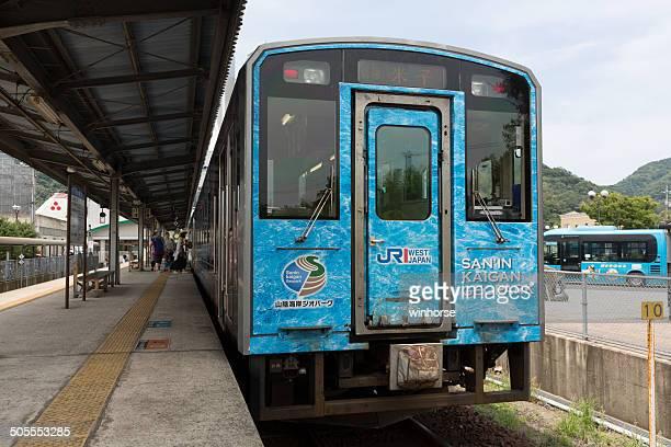 sakai line train in tottori prefecture, japan - tottori prefecture stock photos and pictures