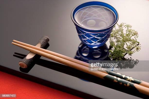 Sake and chopsticks