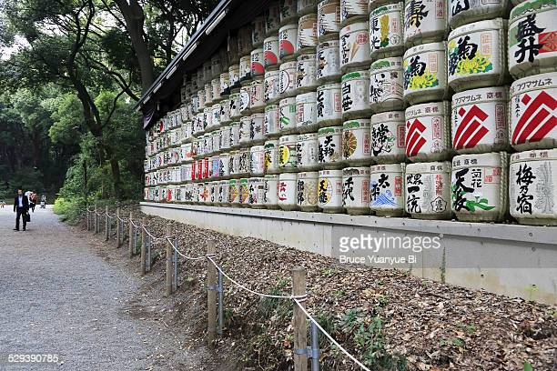 Sake barrels in Meiji Shrine