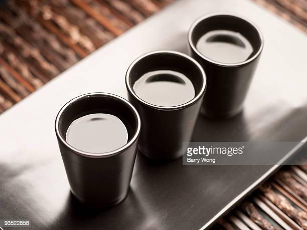 Sake on black tray