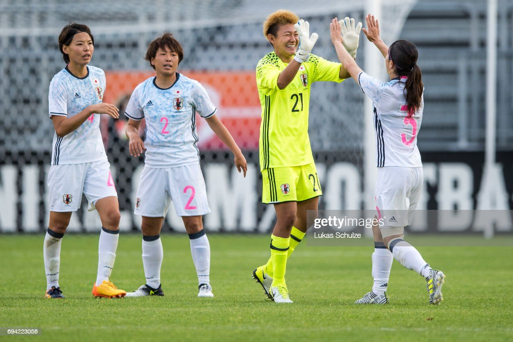 Saki Kumagai (L-R), Hikari Takagi, Goalkeeper Ayake Yamashita and Aya Sameshima of Japan celebrate after winning« the Women's International Friendly match between Netherlands and Japan at Rat Verlegh Stadion on June 9, 2017 in Breda, Netherlands.