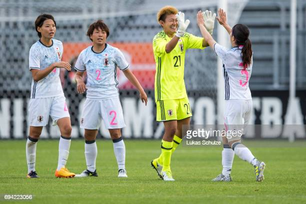 Saki Kumagai Hikari Takagi Goalkeeper Ayake Yamashita and Aya Sameshima of Japan celebrate after winning« the Women's International Friendly match...