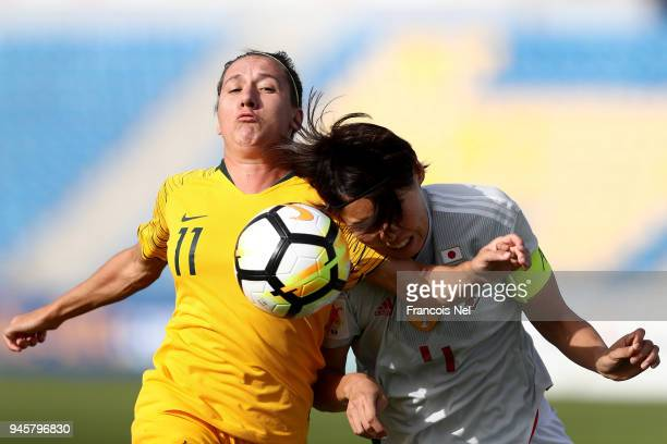 Saki Kumagai of Japan and Lisa De Vanna of Australia in action during the AFC Women's Asian Cup Group B match between Japan and Australia at the...