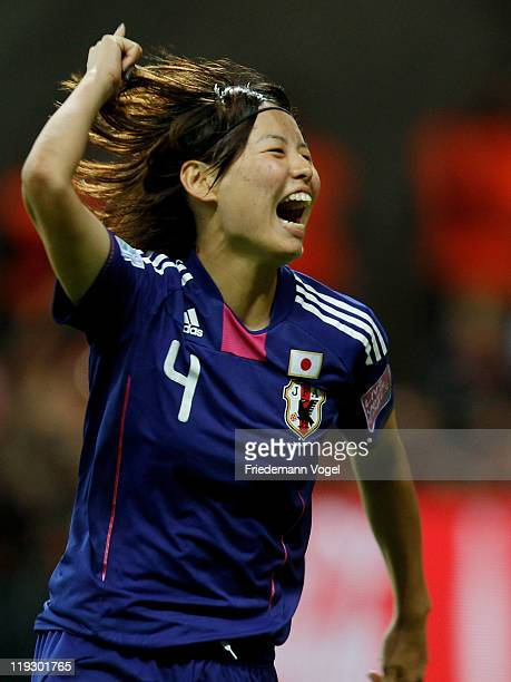 Saki Kumagai of Japan celebrates scoring the last penalty during the FIFA Women's World Cup Final match between Japan and USA at the FIFA World Cup...