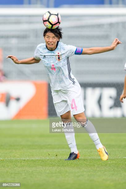 Saki Kumagai of Japan heads the ball during the Women's International Friendly match between Netherlands and Japan at Rat Verlegh Stadion on June 9...