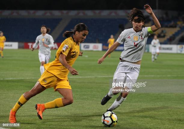 Saki Kumagai of Japan in action against Samantha May Kerr of Australia during 2018 AFC Women's Asian Cup Final match between Japan and Australia at...
